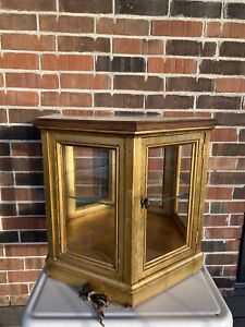 Weiman Mid Century Hexagonal Accent Table With Glass Cabinet Gold