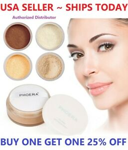 Phoera Translucent Loose Setting Face Powder Makeup Foundation Smooth Full Size $5.98