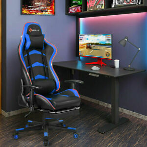 New Massage Led Gaming Chair Reclining Racing Chair W lumbar Support Footrest