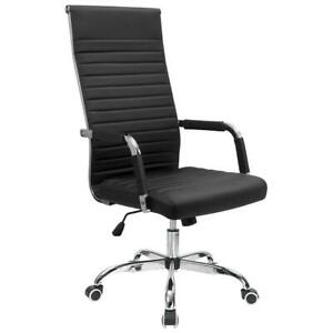 Walnew Ribbed Office Desk Chair High Back Leather Executive Conference Task Chai