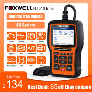 Foxwell Nt510 Elite For Bmw All System Abs Srs Dpf Tpms Obd2 Diagnostic Scanner