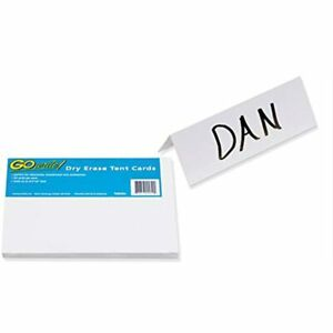 Gowrite Dry Erase Tent Cards 8 5 x3 50 Pack tc853w Reusable Name Tents