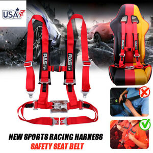 Red Universal 4 point Car Auto Racing Sport Seat Belt Safety Harness Strap Us