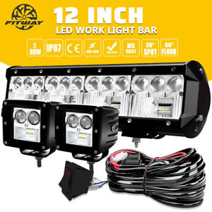 12inch 72w Led Work Light Bar Spot Flood Combo Driving Boat 4wd Atv Truck wiring