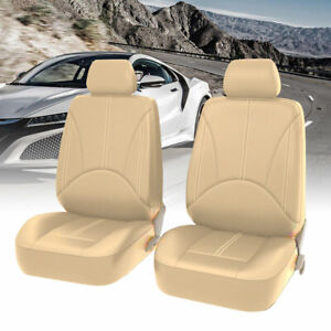 Universal Car Suv Truck Seat Covers 2pc Front Beige Pu Leather Protector Cushion