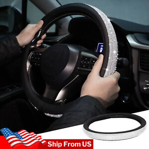 15 Diamond Car Steering Wheel Cover For Girl Woman Bling Leather Universal Auto