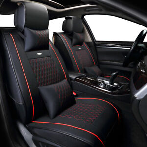 Luxury Leather Car Seat Covers Protector Universal Fit 5 seat Front Rear Cushion
