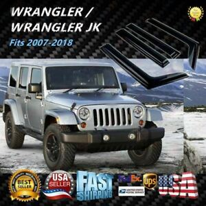 Fit Jeep Wrangler Jk 2007 2018 Rain Sun Guard Smoke Window Visors Door Deflector