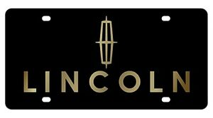 New Ford Lincoln Gold Logo Acrylic License Plate