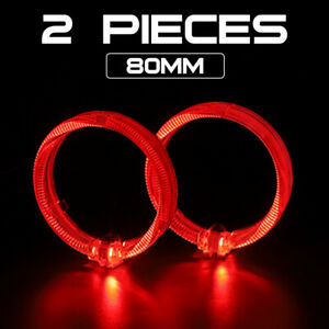 2x Red 2 5 Led Light Guide Angel Eyes Halo Rings Drl For Car Headlight Retrofit