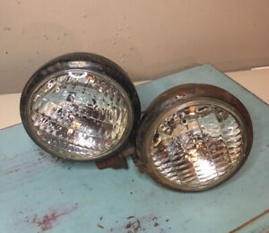 Vintage Guide 5 Fog Lights Clear Glass Black Metal Unmatched Pair Rat Rod