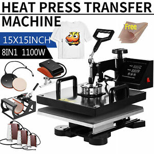 15 x15 8in1 Combo T shirt Heat Press Transfer Machine Sublimation Swing Away Us