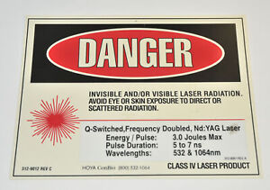 Hoya Conbio Class Iv Laser Danger Warning Sign Nd Yag Q Switched 312 9012 Office