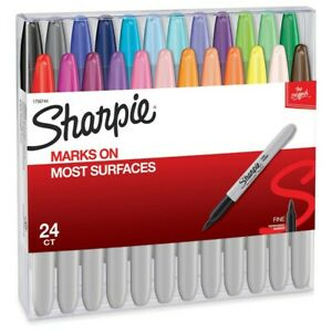 Sharpie Permanent Markers Fine Point Non toxic Assorted Colors 24 Count