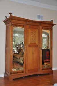 Antique Arts Crafts Mission Armoire Wardrobe Entertainment Cabinet