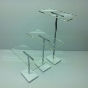Lot Of 3 Shoe Retail Display Risers Acrylic Chrome Steel 15 10 7
