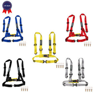 2 Strap 4 Point Buckle Harness Bar Adjustable Racing Seat Belts Bolts
