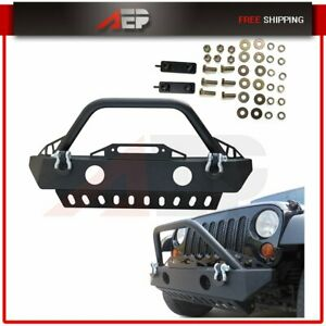 Powder Coated Steel Front Bumper Protector For Jeep Wrangler Jk 07 18 W D rings