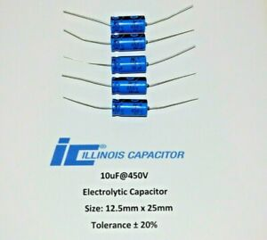 10 450v Illinois Capacitor Electrolytic Capacitor 10uf 450volt Axial Set Of 5