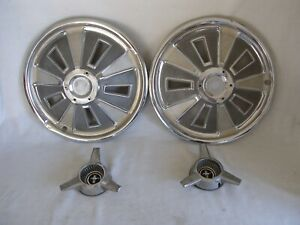 Set Of 2 1966 Ford Mustang Hubcaps Spinner Center Caps Oem Wheel Covers Read