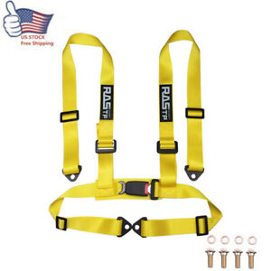 Yellow Rastp Racing Seat Belts 4 Point 4pt Safety Harness Nylon Adjustable Us