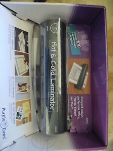 Laminator Purple Cows 3015c 9 Hot Cold Laminator With 100 3mil Hot Pockets new