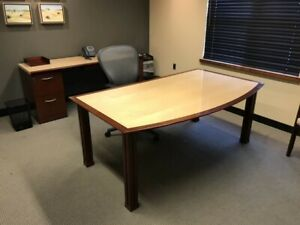 Geiger Triuna Table Desk Matching Credenza set Of 2 office Furniture And More