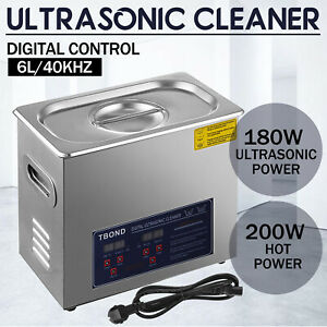 Stainless Steel 6l Liter Industry Ultrasonic Cleaner Heated Heater W timer
