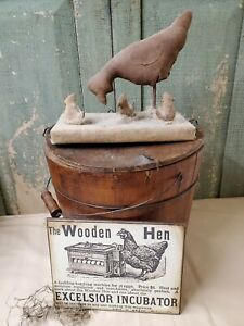 Old Colonial Victorian Primitive Vintage Folk Art Style The Wooden Hen Farm Sign