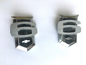 Pair 2 Chevy Nova 6 Emblem Trim Nameplate Vintage Metal Sign Chevrolet Ii Gm