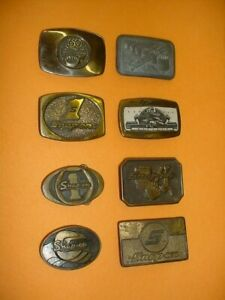Eight 8 Vintage Snap On Belt Buckles All Have Been Worn Scratches And Wear