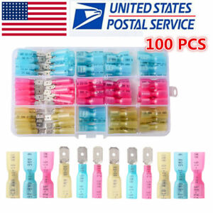 100x Electrical Heat Shrink Male Female Spade Wire Connectors Terminals 22 10