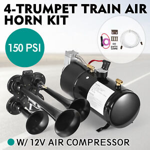 4 Trumpet Train Air Horn Kit With 150 Psi Compressor Air Tank For Truck Boat Suv