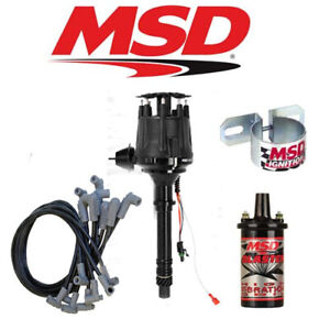 Msd 99003 Black Ignition Kit Ready To Run Distributor Wires Coil Bracket Sbc