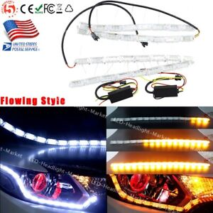 Switchback Car Flexible Led Strip Light Drl Amber Sequential Turn Signal Lamp