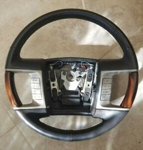 2006 09 Lincoln Zephyr mkz Steering Wheel Black Leather rosewood Grips