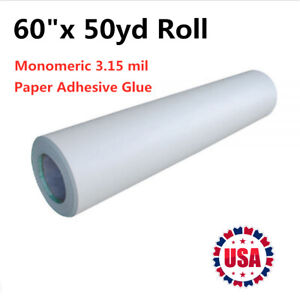 60 X 50yd Roll Glossy Cold Laminating Film monomeric 3 15 Mil Paper Adhesive