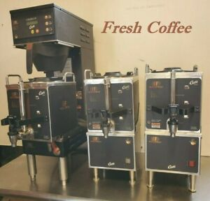 Coffee Package 120v Brewer 3 Servers 2 Warmer stands Machine Curtis Gem 120a
