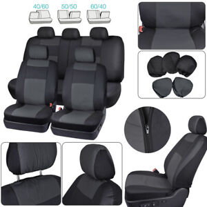 Black Pu Leather Car Seat Cover Protector Cushion Full Set Universal Breathable