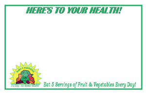 5 A Day Produce Price Cards display Case shelf Signs Tags 100lot 11x7 White