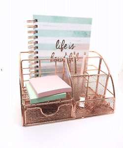 Rose Gold Desk Or Makeup Organizer With Drawer Pen Holder Office Accessories