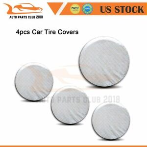 4x Spare Tire Cover Case Soft Bag Protector 33 35 Inches White