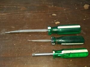 Vintage S k Tools 40954 Green White Handle 1 4 Driver And 2 Flat Heads 72106