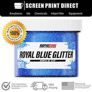Blue Glitter Premium Plastisol Ink For Screen Printing Low Temp Cure 8oz