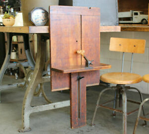 Antique Industrial Bookbinding Press Table Clamp On Cast Iron Wood Shelf Typeset