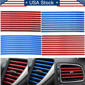 10 X Car Interior Air Conditioner Air Outlet Vent Decoration Bright Strip Cover
