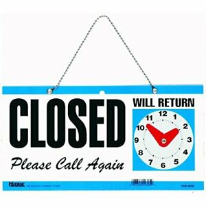 Headline Sign 9395 Double sided Open closed will Return Sign With Clock Hands