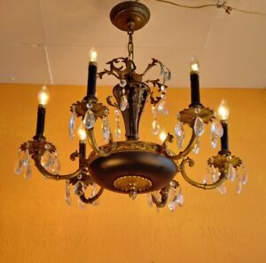 Antique French Empire Bronze Black Varnish Chandelier