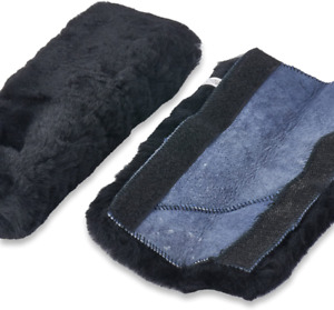 Andalus Authentic Sheepskin Car Seat Belt Cover 2 Pack Soft Shoulder Pads bla