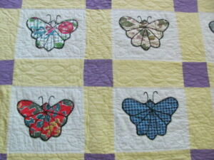 Vintage Butterfly Yellow Purple Cotton Hand Quilted Quilt Large Size 81 X 98 In